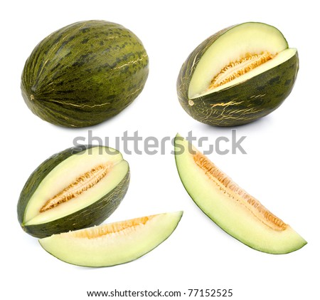 Set of 4 studio shots of a green melon cut differently and whole - stock photo