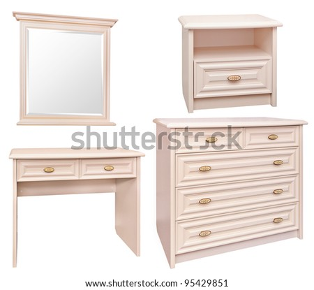 Set Of Stylish Bedroom Furniture In Cream Color Isolated On White