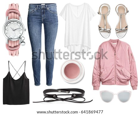 Set of stylish clothes, collection collage of women