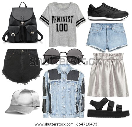 set of stylish clothes woman trendy fashion clothes collage on white