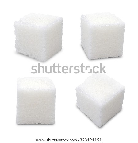 Set of sugar cubes on white background #323191151