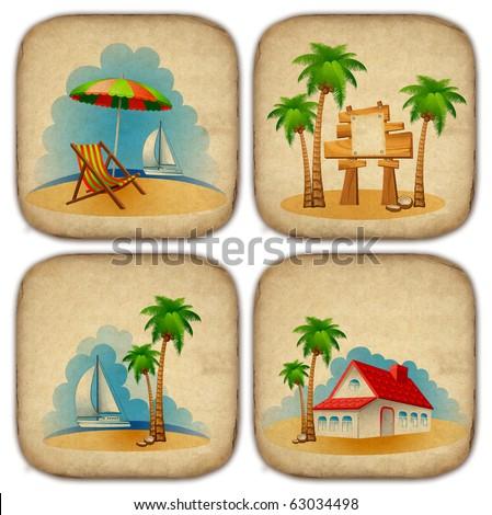 Set of summer beach stickers