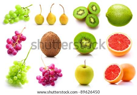 Set of summer fruits isolated on white