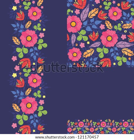 Set of summer night plants seamless pattern and borders