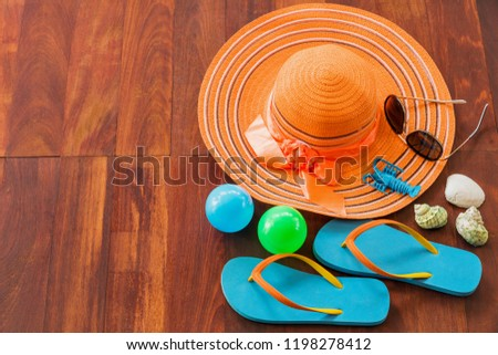 Set of summer object on wooden for background, Object summer concept on plank