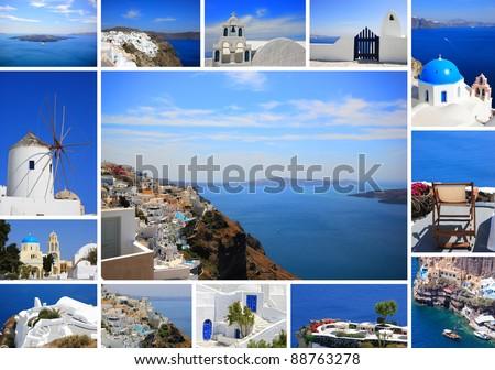 set of summer photos of Santorini Greece - stock photo