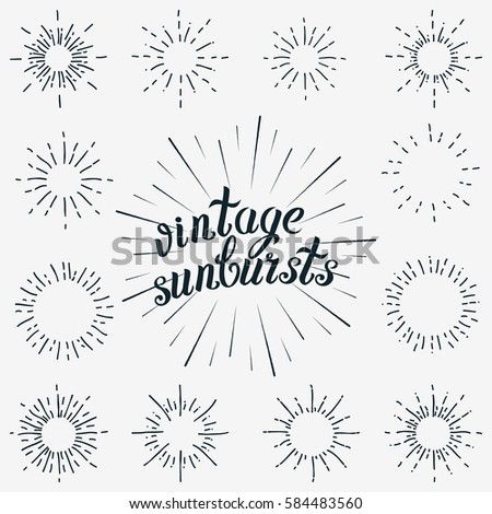 Set of Sunbursts Graphic Elements. Vintage labels Isolates on White For Invitations, Greeting Cards, Posters.