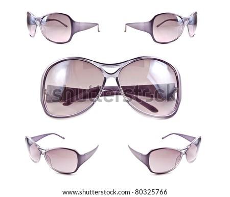 Set of sunglasses isolated on the white background - stock photo