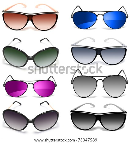 set of sunglasses isolated on white