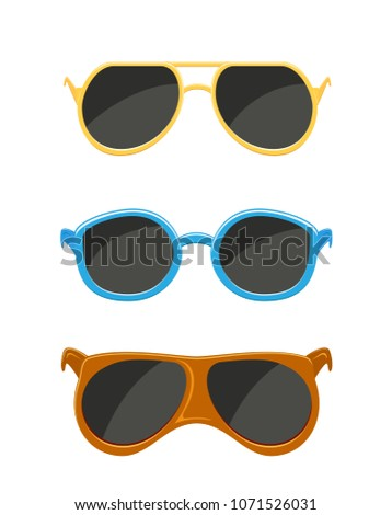 Set of sunglasses isolated on white background, illustration.