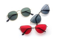 set of sunglasses metal frame: cat's eye and round isolated on white