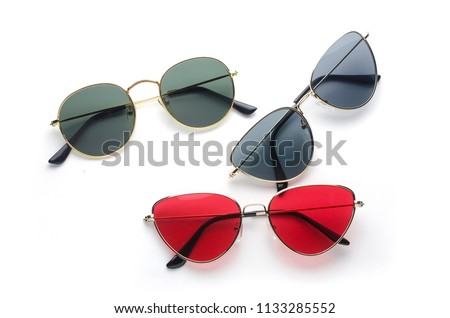 set of sunglasses metal frame: cat's eye and round isolated on white #1133285552