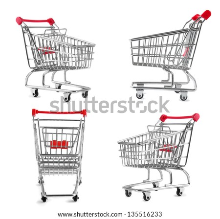 set of supermarket trolleys over white