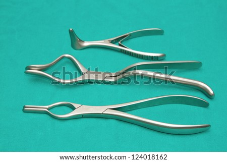 set of surgical instrument on sterile table