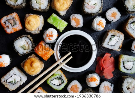 Set of sushi and maki on stone table. Flat lay, top view Photo stock ©