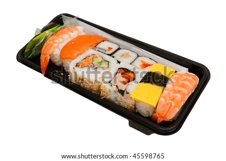 Set of sushi in black box
