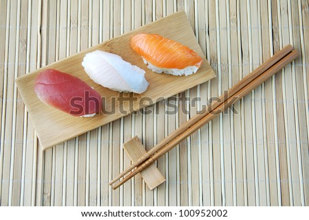 Set of sushi on the bamboo plate