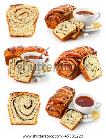 set of sweet fancy baking with tea cup isolated on white background