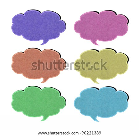 set of tag paper from recycled paper on white background.