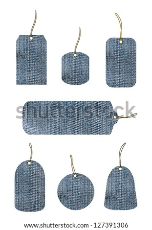 Set of tags made out of jeans
