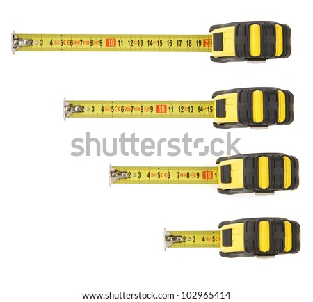 set of tape measure isolated on white background