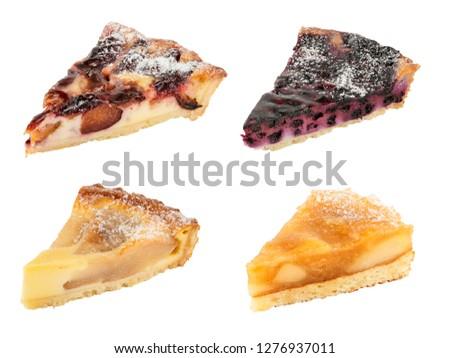 Set of tasty pies isolated on white. Apple pie, Pear pie, Plum pie, Blackberry pie #1276937011