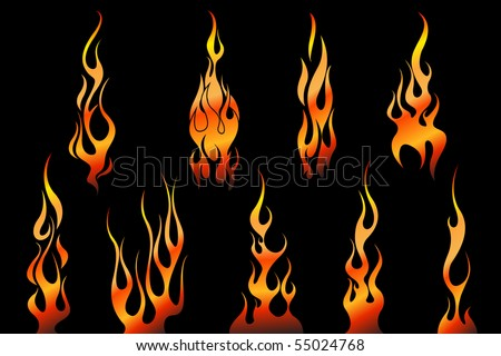 stock photo set of tattoo flames