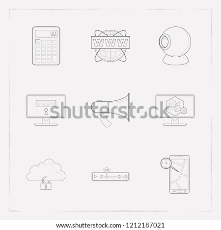 Set of tech icons line style symbols with computer widget, real time location, www address and other icons for your web mobile app logo design.