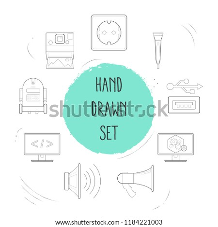 Set of technology icons line style symbols with programming, computer widget, bullhorn and other icons for your web mobile app logo design.