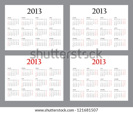 Set of Template Calendars for 2013 on a white background