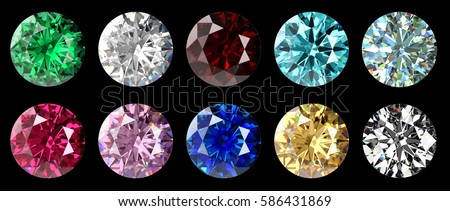 Set of ten colorful classic round brilliant cut gems, top view isolated objects on black background.  3D rendering illustration