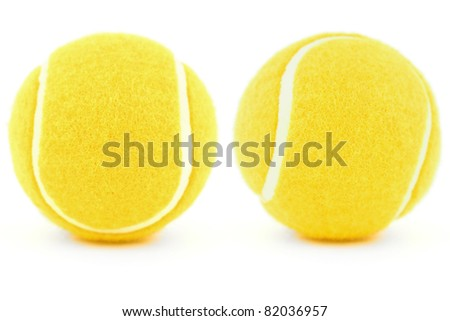 set of tennis balls isolated on white
