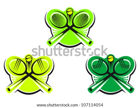 Set of tennis icons and symbols isolated on white background for sports design, such logo. Vector version also available in gallery