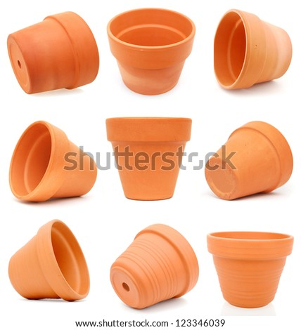 Set of terracotta flower pots