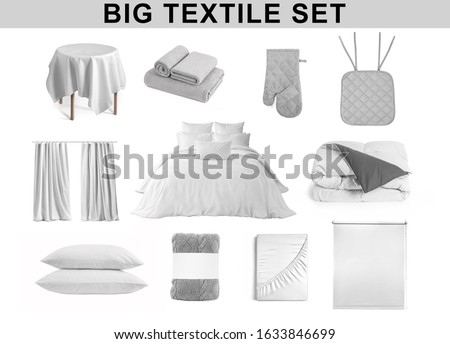 Set of textile items for kitchen, bathroom and bedroom Tablecloth, terry towels, mitten, chair pad, curtains, bed cloth, bed linen, duvet, pillows, plaid, folded bed sheet and roller blind, isolated