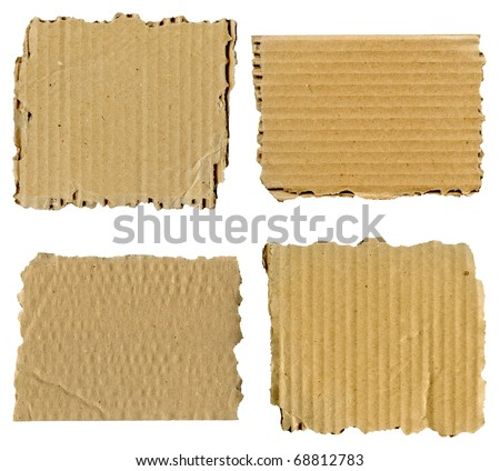 Set of textured cardboard with torn edges isolated over white