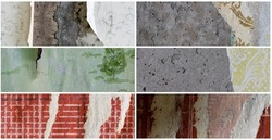 Set of textures of old faded torn paper wallpaper with a classic pattern. Tattered scraps of paper on a concrete walls. Collection of wide panoramic vintage backgrounds for design.