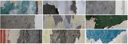 Set of textures of old torn paper wallpaper. Tattered scraps of paper on a concrete walls. Collection of wide panoramic vintage backgrounds for design.
