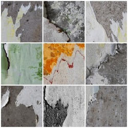 Set of textures of old torn paper wallpaper. Tattered scraps of paper on a concrete walls. Vintage backgrounds collection for design.