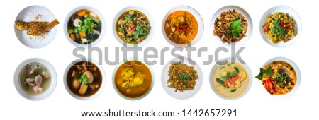 Set of Thai Food Recipes 12 menu isolated on white background with clipping path.Top view.Thai cuisine set. Collection of food dishes for the decoration of restaurants.Kaeng thai.