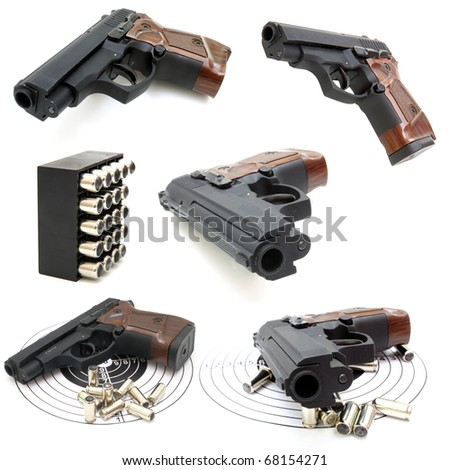 Set of The close up of a pistol a target and cartridges is isolated on a white background