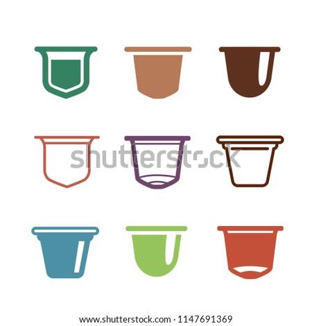 Set of the coffee capsules. flat icons. Сток-фото ©