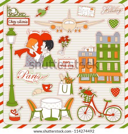 Set of the doodle sketches. Paris travel icons.