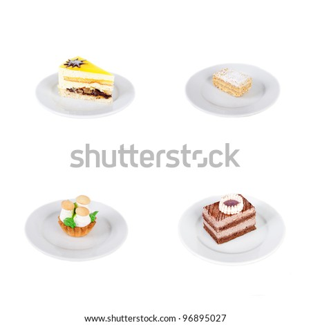 set of the four cakes isolated on white
