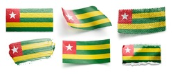 Set of the national flag of Togo on a white background