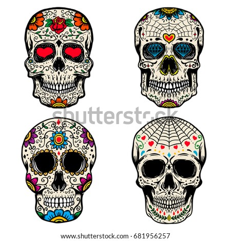 set of the sugar skulls isolated on white background dia de los