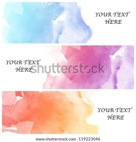 set of three banners, abstract colorful water color background