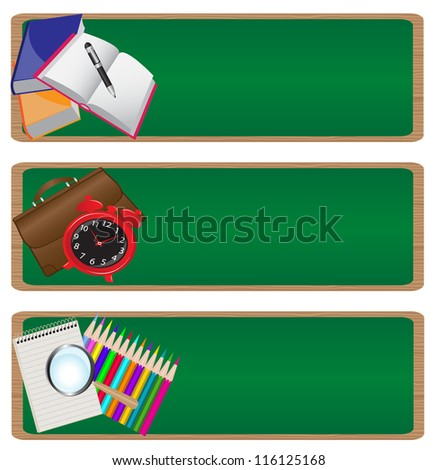 """set of three banners """"back to school"""" with a picture of various school supplies on the background of the school board."""