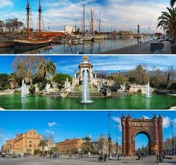 Set of three Barcelona attractions panoramas