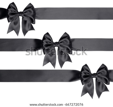 Set of three bows and ribbons isolated on white background